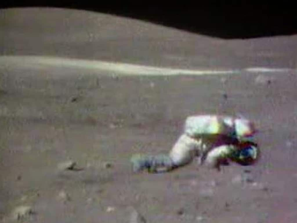 Lunar gravity dictates the astronauts just can't keep their feet. Picture: NASA