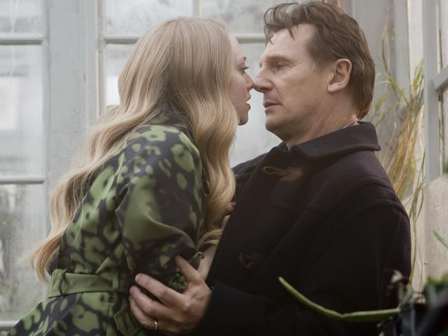 Liam Neeson and Amanda Seyfried in a scene from film Chloe. Picture: Supplied