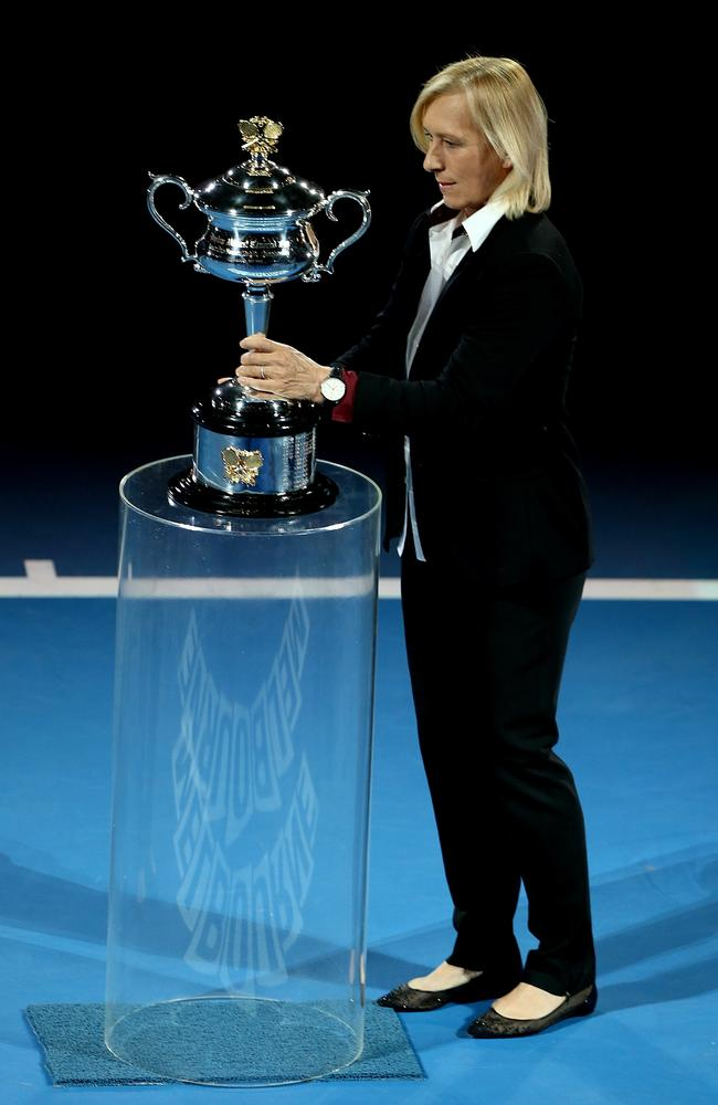Martina Navratilova on Rod Laver Arena. at the 2015 Australian Open.