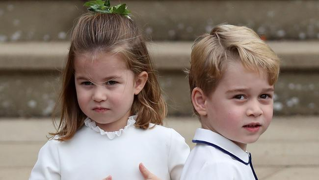 Charlotte and George featured in the bridal party. Picture: Steve Parsons/AFP