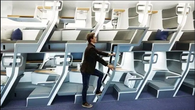 New double-decker seat design on planes would let all passengers lie flat in economy