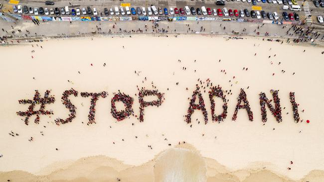 Protesters on Bondi Beach on October 7 as part of the Stop Adani National Day of Action. Photo supplied by Stop Adani
