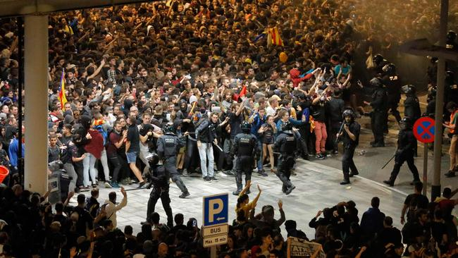 The airport was under siege by thousands of protesters. Picture: Pau Barrena/AFP