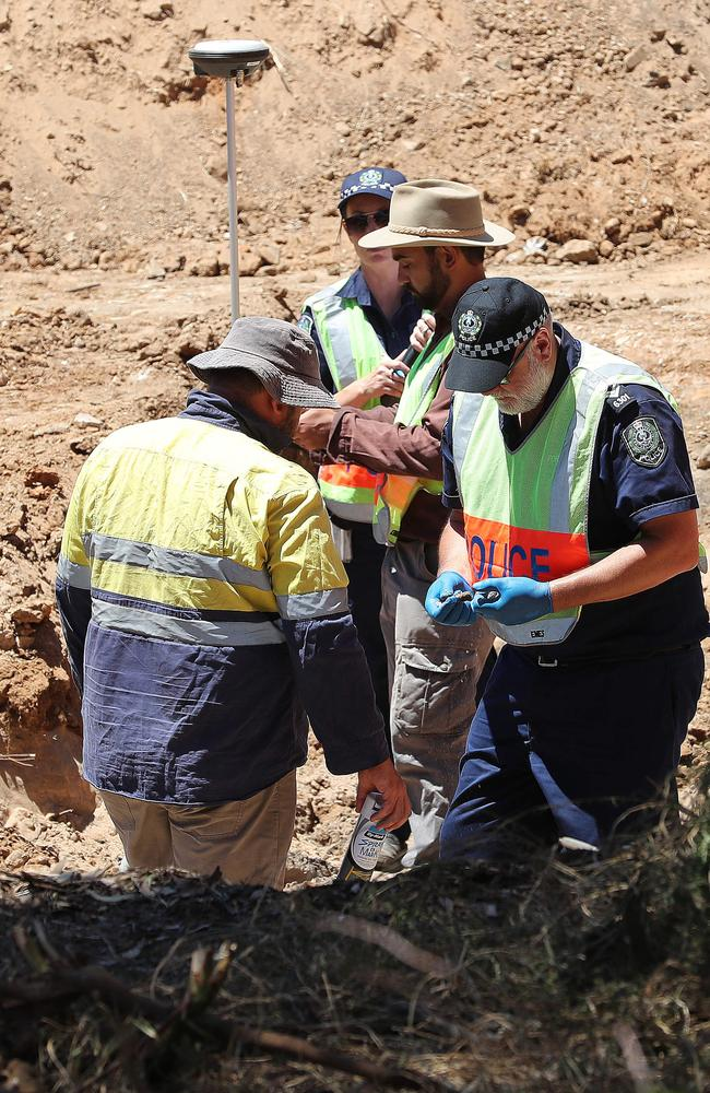 Forensic investigators dig at Adelaide's Castalloy factory for traces of the Beaumont children, who vanished in 1966. Picture: Dylan Coker.