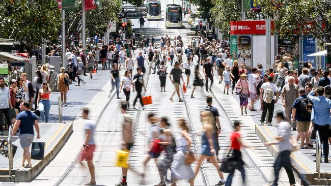 Shoppers, such as here in Bourke Street, Melbourne, will spend $51 billion in the run-up to Christmas. Picture: Tim Carrafa