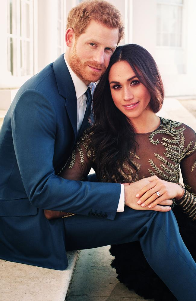 Harry and Meghan's engagement shot had several striking similarities. Picture: Alexi Lubomirski