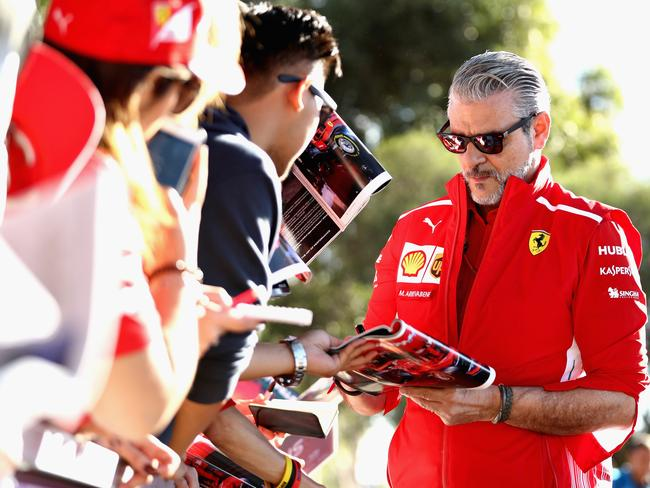 Arrivabene signing autographs on the Melbourne Walk on Friday morning.