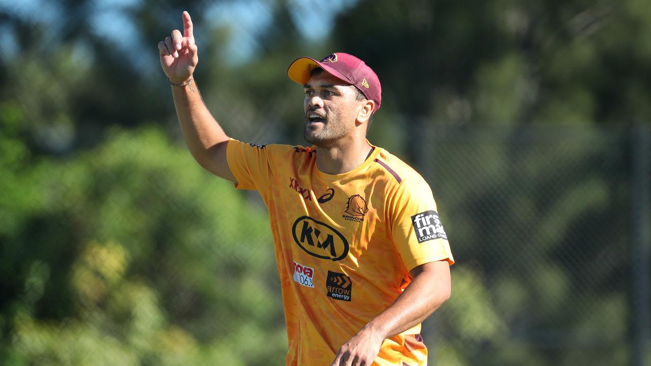 Karmichael Hunt training with the Brisbane Broncos, Red Hill. Photographer: Liam Kidston