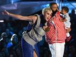 Host Katy Perry and DJ Khaled speak onstage during the 2017 MTV Video Music Awards at The Forum on August 27, 2017 in Inglewood, California. Picture: Getty