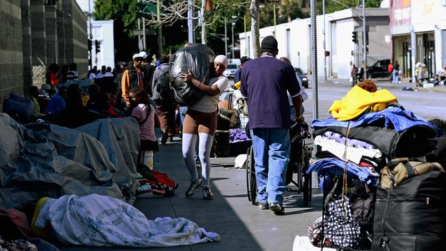 A familiar sight in Skid Row, downtown Los Angeles.