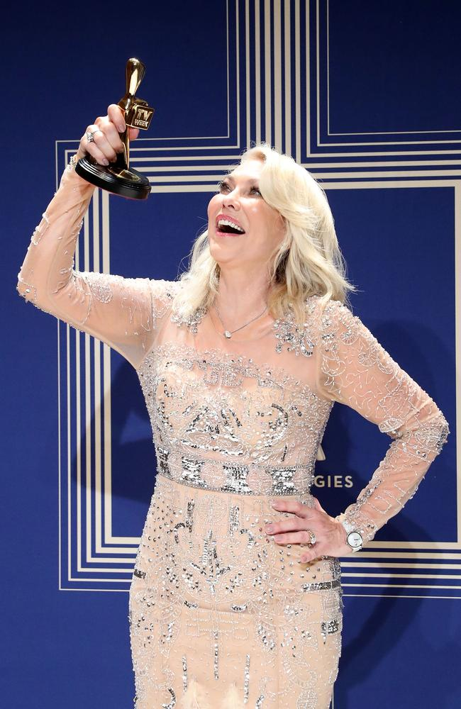 Kerri-Anne Kennerley poses with the Hall Of Fame Logie Award during the 59th Annual Logie Awards at Crown Palladium. Picture: Getty