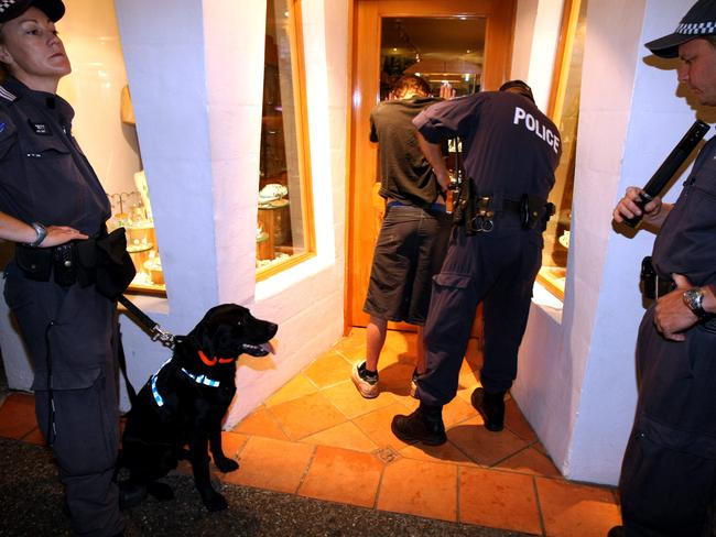 Police search and talk to a teenager during schoolies week in Byron after a drug sniffer dog stopped him on the street.