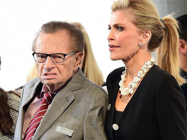 Larry King and Shawn King arrive for the funeral service for former First Lady Nancy Reagan in 2016. Picture: Frederic J. Brown/AFP