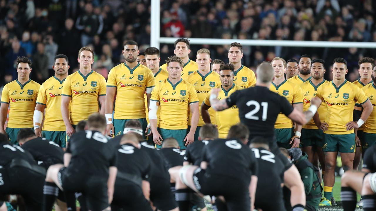 The Wallabies face the haka during the second Bledisloe Cup in 2018