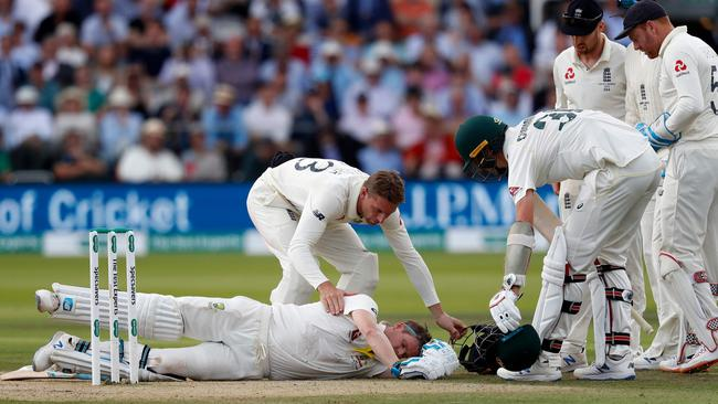 Smith after being hit by the bouncer. Picture: Adrian Dennis / AFP
