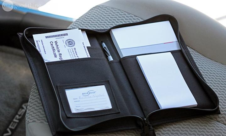 "3. ORGANISE ALL RELEVANT CAR DOCUMENTATION INTO A FOLDER  <p>You know that thing where you break down and you can't find the number of the roadside assistance because you're so panicked? Organising everything from emergency numbers, car jack instructions and rego details into a folder will take the stress out of things a little. <a href=""http://www.onegoodthingbyjillee.com/2015/04/handy-hacks-for-spring-cleaning-organizing-your-car.html"">Image via onegoodthingbyjillee.com</a></p>"