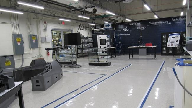 Inside the innovation laboratory where Lockheed Martin are finetuning the technology to 3D print substantial portions of the training simulators. Picture: Lockheed Martin.