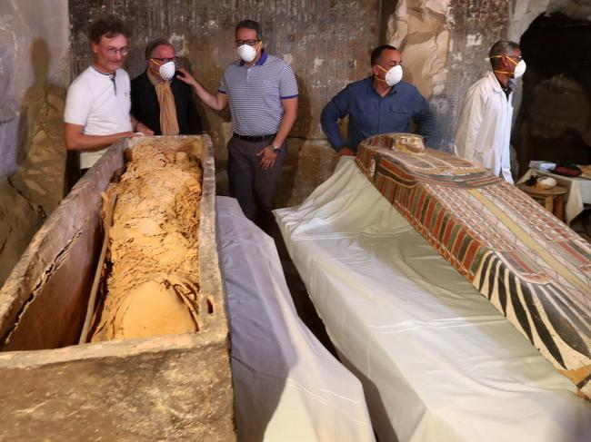 Further digging uncovered several other sarcophagi as well as mummies outside of a sarcophagus. Picture: Khaled Elfiqi