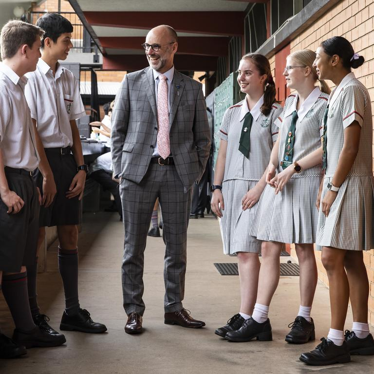 Headmaster Paul Browning with St Paul's School students. Picture: Mark Cranitch