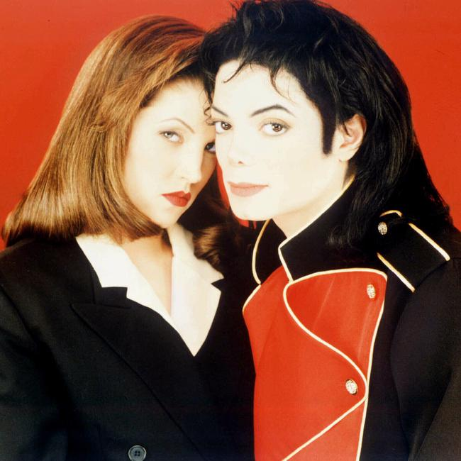 Singer Michael Jackson with then-wife Lisa Marie Presley in 1995.