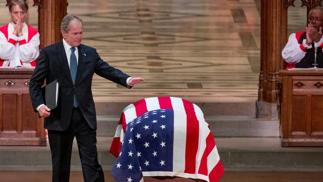 Former US president George W. Bush farewells his father. Picture: Andrew Harnik/Pool/AFP