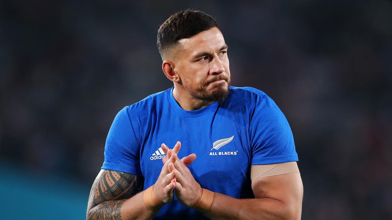 Sonny Bill Williams warms up in his final game for New Zealand