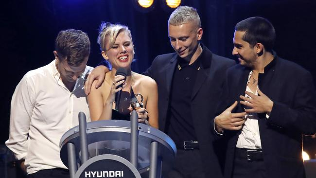 Instead Joff Oddie, Ellie Rowsell, Theo Ellis and Joel Amey of Wolf Alice collected their award as winners of the 2018 Mercury Music prize