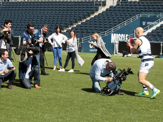 Gary Ablett had a kick-to-kick with the media. Picture: Alison Wynd