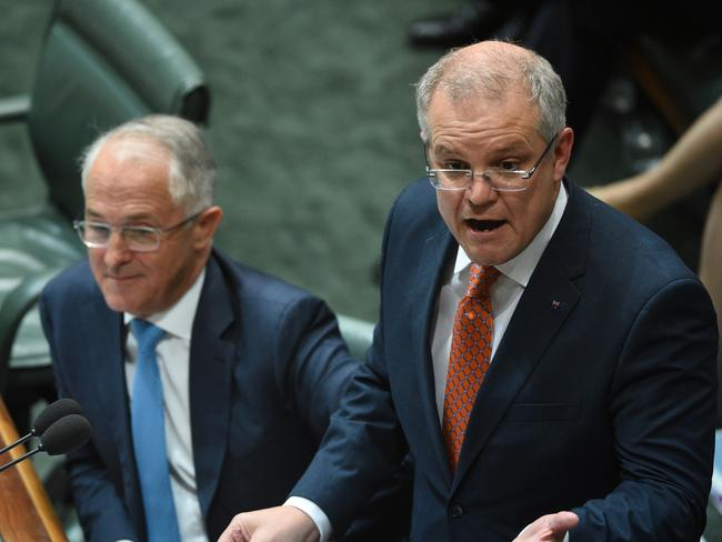Prime Minister Malcolm Turnbull and Treasurer Scott Morrison during Question Time at Parliament House in Canberra. Picture: AAP