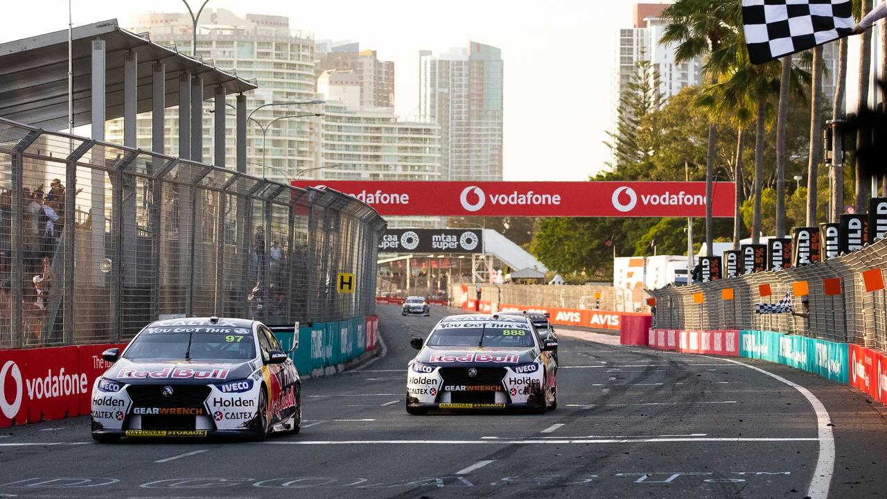 Van Gisbergen and Whincup take the chequered flag. Picture: Daniel Kalisz