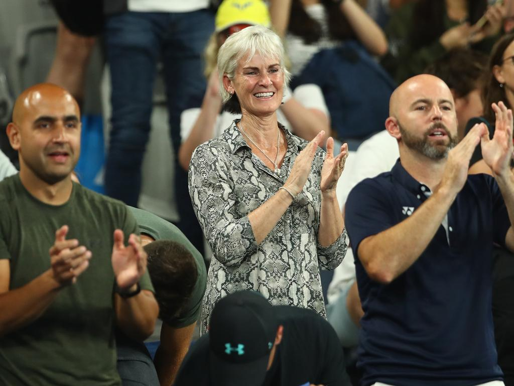 Judy Murray, mother of Andy Murray of Great Britain looks on during his first round match.