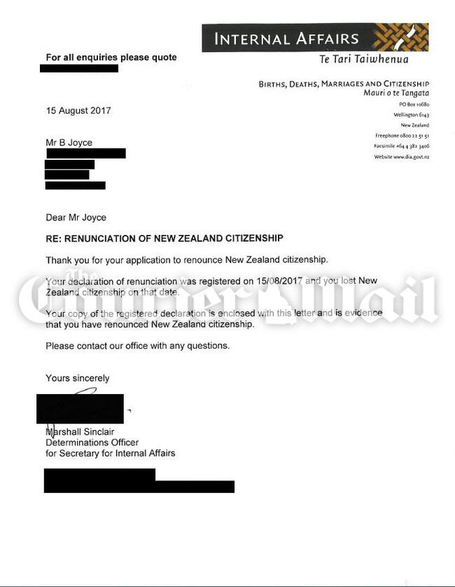 Confirmation of Barnaby Joyce's renunciation of NZ citizenship