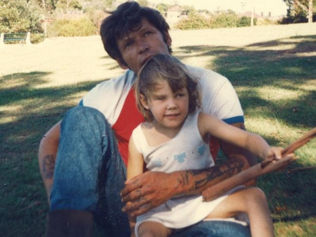 Nina Young with her father Allan, a convicted murderer, in 1990.