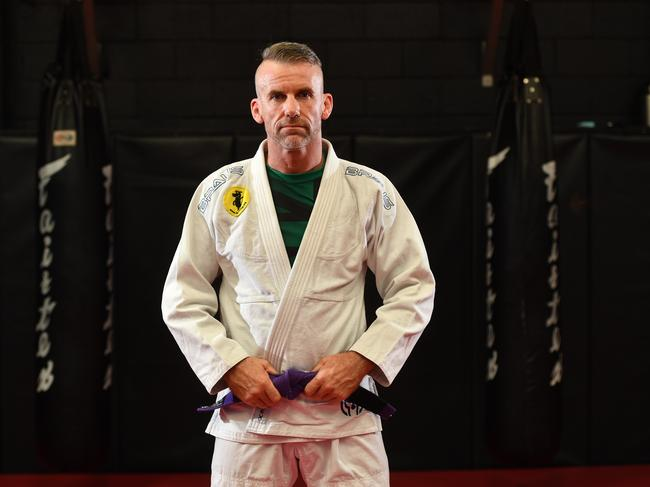 Former Royal Marines Commando Damian Todd will take on 228 different opponents during his Brazilian jiu-jitsu world-record attempt. Picture: AAP/ Keryn Stevens