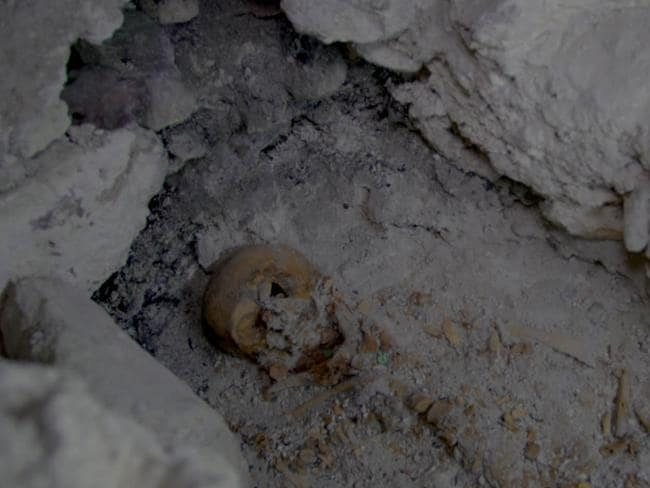Peten jungle, Guatemala - Queen skull found in royal tomb (Wild Blue Media)