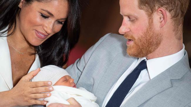Archie's first and only public appearance gave us just a glimpse of his little face. Picture: Dominic Lipinski/Pool/AFP