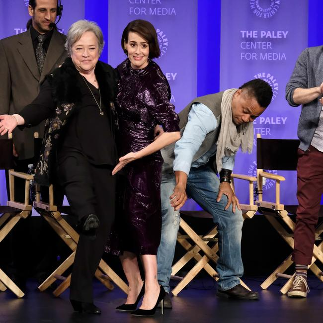 Gooding Jr reaches for co-star Sarah Paulson's skirt. Picture: Getty