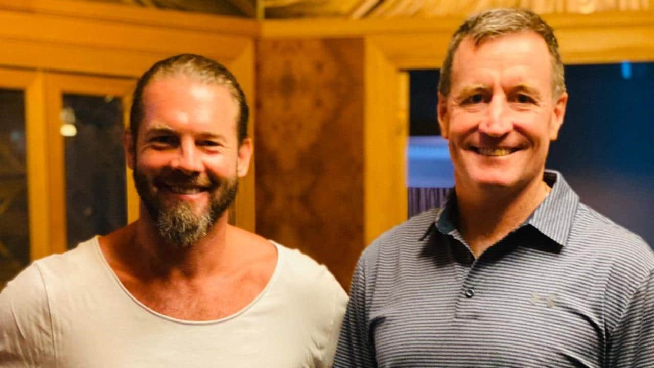 Ben Cousins with John Worsfold in the documentary. Picture: Channel 7