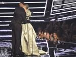 """Drake presents Rihanna with the """"The Video Vanguard Award"""" during the 2016 MTV Video Music Awards at Madison Square Garden on August 28, 2016 in New York City. Picture: Getty"""
