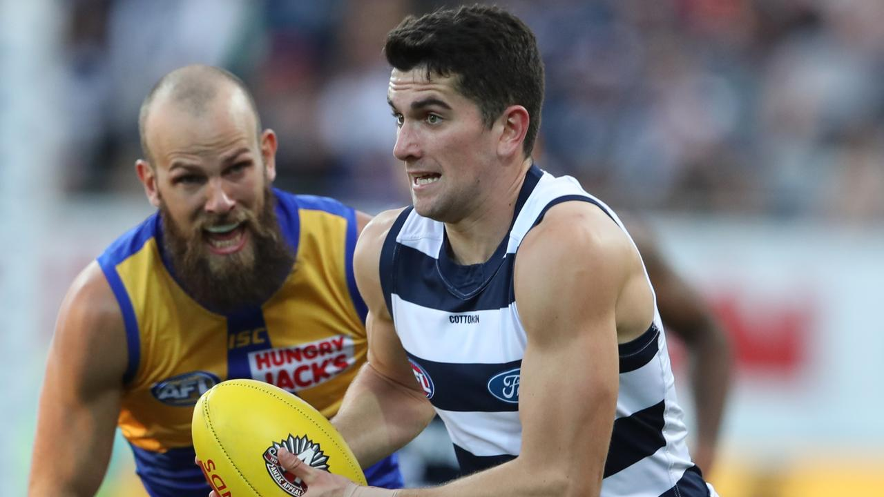 Geelong defeated West Coast in the First Semi Final. (AAP Image/David Crosling)