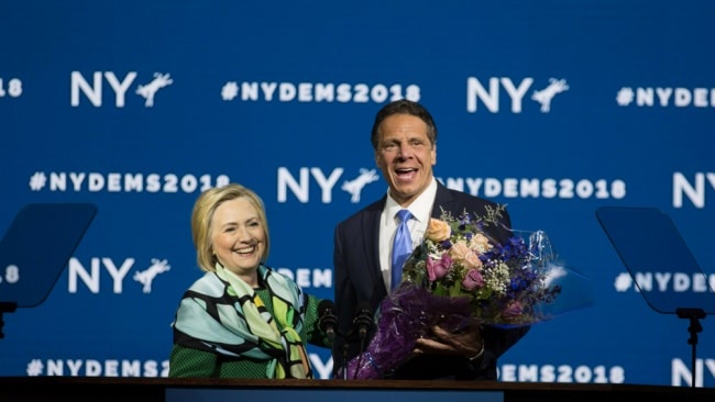 Andrew Cuomo with Hilary Clinton at the Democratic Convention. Not Happy Hils. Photo: Getty Images