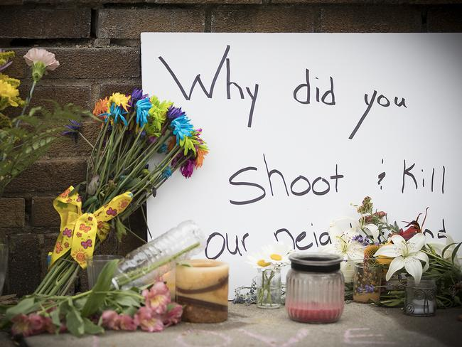 A makeshift memorial is left at the scene where a Minneapolis police officer shot and killed Justine Damond in Minneapolis, Minnesota. Picture: Elizabeth Flores/Star Tribune via AP