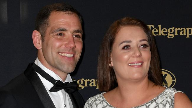 Cameron and Barbara Smith on the red carpet at the Dally M awards. Picture: Dan Himbrechts/AAP