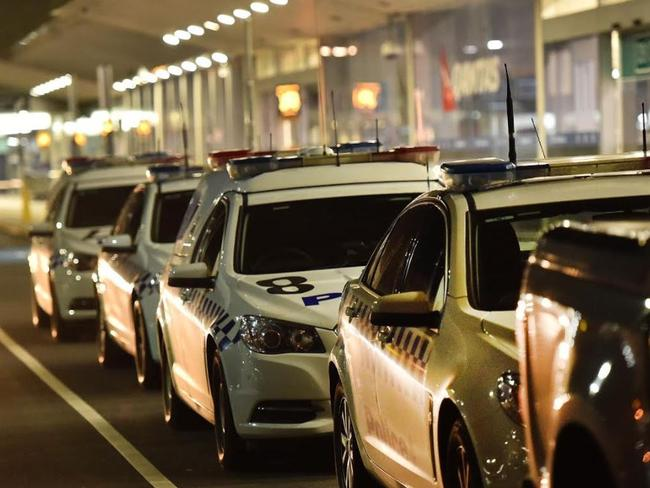 Police cars lined up at Melbourne Airport. Picture: Rob Leeson