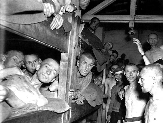Jewish and political prisoners in their barracks at Mauthausen Concentration Camp in Austria in 1945.
