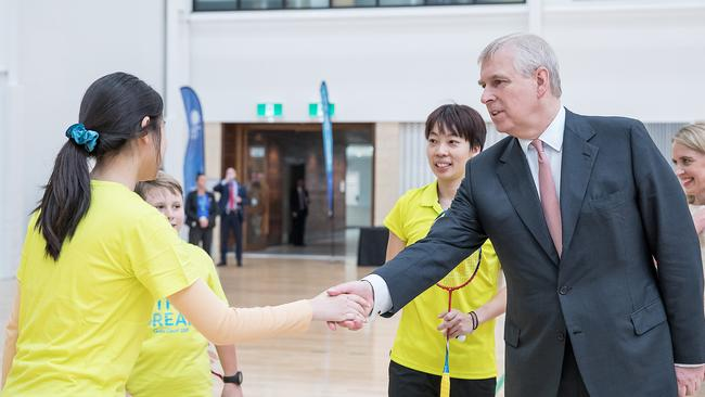HRH Prince Andrew meets badminton players at Gold Coast Sport and Leisure Centre, Carrara. Picture: Supplied
