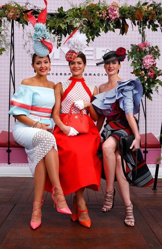 Fashion in the Field winner Olivia Moor (centre) flanked by her competitors. Picture: Daniel Pockett/Getty Images