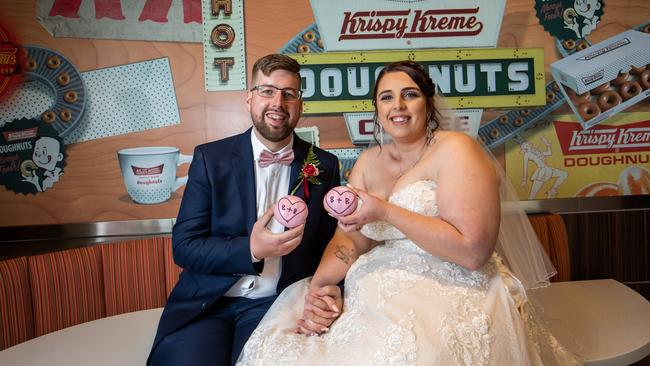 Adelaide couple Blake and Brooke Pulic tied the knot in a doughnut themed wedding over the weekend. Picture: James Elsby