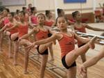 Young ballerinas practice during a lesson at Mansyongdae School Childrens' Palace. Picture: Carl Court/Getty Images
