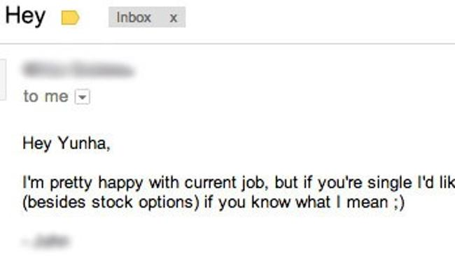 """One of the """"more professional emails"""" Yunha has received as a female CEO."""